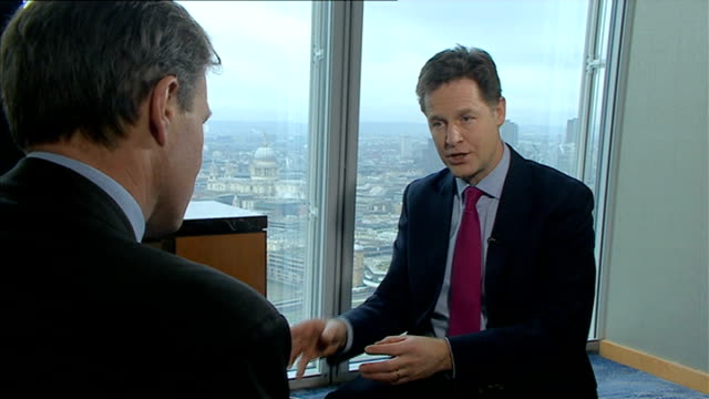 liberal democrats outline financial plans itn reporter asking question sot nick clegg mp interview sot the party of staying the course finishing the... - seguire attività che richiede movimento video stock e b–roll