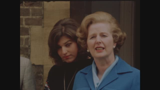 margaret thatcher; england: london: chelsea: ext margaret thatcher photocall in front garden with husband denis thatcher and daughter carol thatcher... - margaret thatcher stock videos & royalty-free footage
