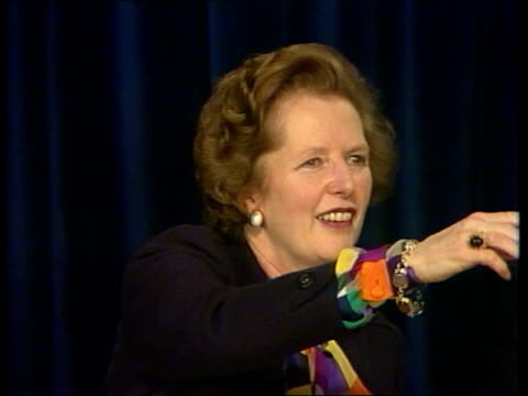margaret thatcher launches conservative party manifesto england london smith sq conservative central office int gv hall and stairway margaret... - prime minister's questions stock videos & royalty-free footage