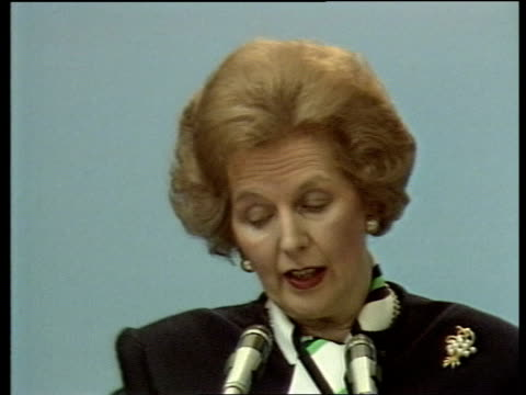 margaret thatcher profile general election margaret thatcher profile tx torquay thatcher onto platform at press conference thatcher standing on... - general election stock videos & royalty-free footage