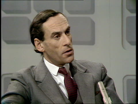 general election / miners pay dispute: jeremy thorpe interview; england: london: jeremy thorpe mp studio interview sot - on talks between government... - mp stock-videos und b-roll-filmmaterial