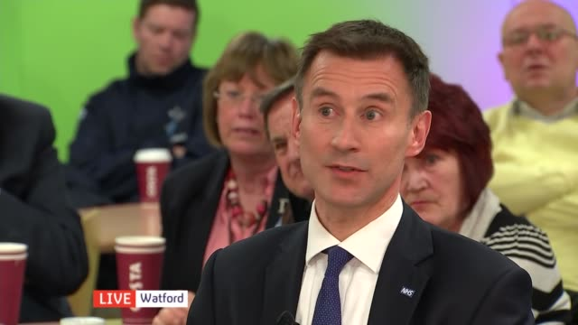 NHS Special ENGLAND Hertfordshire Watford General Hospital INT Jeremy Hunt MP interview SOT Have had real pressure in AE Departments on doing a shift...