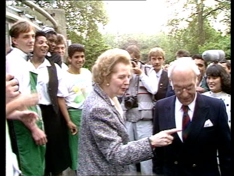 roundup:; d) england: london: st james's park: ext margaret thatcher and husband denis r-l followed by press bv thatcher & others bv side thatcher... - herding stock videos & royalty-free footage