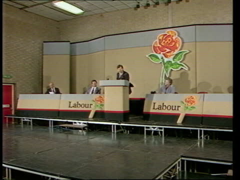 """roundup:; england: yorks: halifax: int labour platform as bryan gould r-l to podium cms bryan gould speech sof - """"and that is the personality --... - gerald kaufman stock videos & royalty-free footage"""