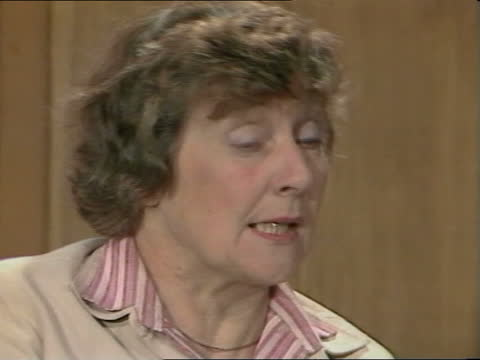 """shirley williams interview; england: london: int shirley williams intvw sof: """"alas, it isn't -- in this country"""" cas ex eng 1.40mins tx'd 3.6.83/nao... - itv news at one stock videos & royalty-free footage"""