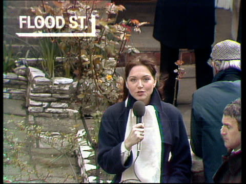 general election special 'the nation decides' england [london] flood street anna ford i/c from outside thatcher's home pull out to more press and... - 1979 stock videos and b-roll footage