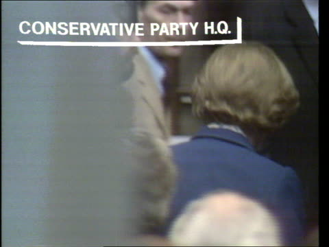 general election special, 'the nation decides'; london: smith square: conservative party hq: thatcher arrives at conservative party hq gv inside to... - conservative party uk stock videos & royalty-free footage