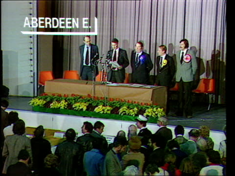 general election special, 'the nation decides'; scotland: aberdeen: aberdeen east declaration copyright: originally grampian now stv north - aberdeen schottland stock-videos und b-roll-filmmaterial