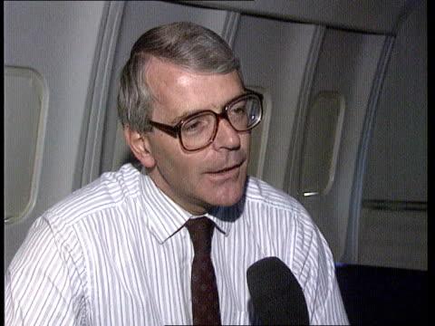 General election speculation INT John Major sitting in cockpit looking out of the window at countryside below CMS SIDE ditto MS SIDE pilot at...