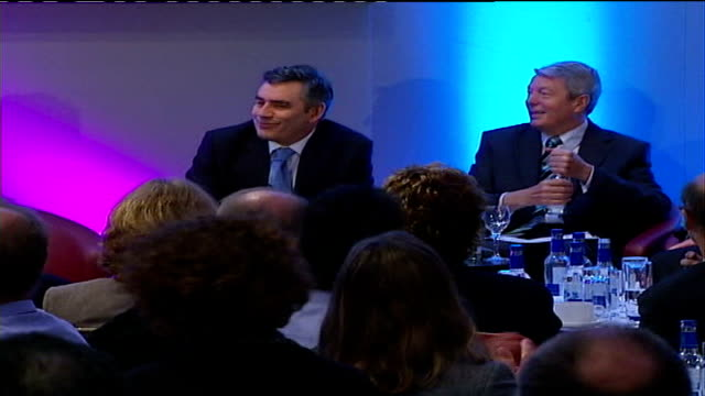 tories accuse gordon brown of electioneering london brown sitting on stage at conference alongside alan johnson mp brown standing at podium gordon... - alan johnson stock videos & royalty-free footage