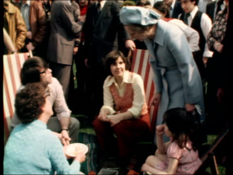 thatcher; england: london: westminster: ext gvs large crowd gvs margaret thatcher chatting with family as seated for picnic margaret thatcher... - margaret thatcher stock videos & royalty-free footage