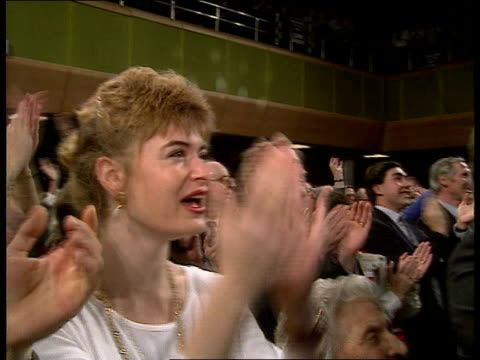 Tories Major ENGLAND Devon Torquay John Major waves to Tory faithful at election rally BV Major down steps into auditorium CMS Major shakes...