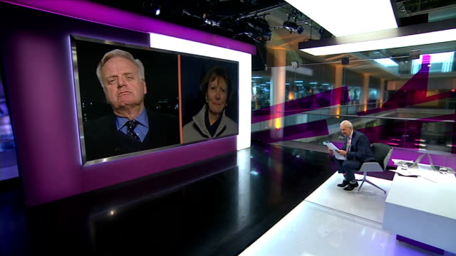 general election tv debates: debates remain uncertain; england: london: gir: int lord grade and baroness bakewell both in westminster live interviews... - 男爵夫人点の映像素材/bロール