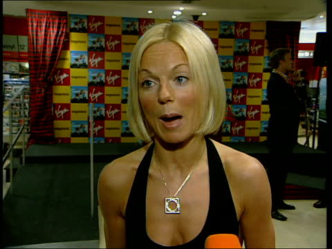 geri halliwell/ celebrity support itn geri halliwell speaking to press sot talks of support for tony blair halliwell speaking to press - geri horner stock videos & royalty-free footage