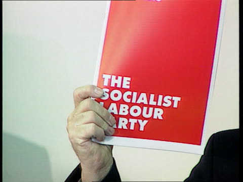 socialist labour party itn england london arthur scargill holding up copy of parties manifesto at pkf - socialist party stock videos and b-roll footage
