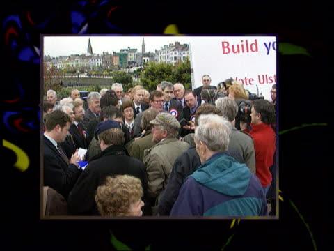 Ulster Unionists ITN IRELAND Belfast David Trimble launching election manifesto