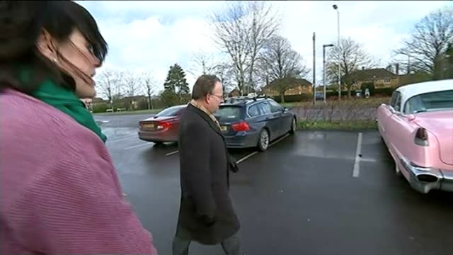general electkion 2015: channel 4 news cadillac tour: chippenham; reporter shaking hands with michelle donelan reporter and donelan along michelle... - チッペナム点の映像素材/bロール