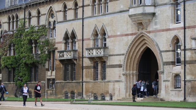 general exterior views of christ church college, oxford university, oxford, uk. - stone object stock videos & royalty-free footage