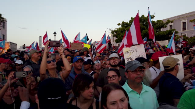 general footage of as protesters as they demonstrators protest against ricardo rossello, the governor of puerto rico july 17, 2019 in old san juan,... - governor stock videos & royalty-free footage