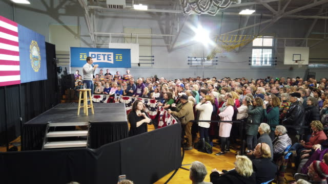 general footage of democratic presidential candidate south bend, indiana mayor pete buttigieg during a town hall event at the walpole middle school... - south bend indiana stock videos & royalty-free footage