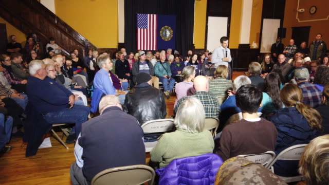 general footage of democratic presidential candidate south bend, indiana mayor pete buttigieg during a town hall event at the city hall building on... - south bend indiana stock videos & royalty-free footage