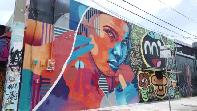 general footage of the wynwood neighborhood on july 09 2020 in miami florida today is the first day that restaurants have been asked by miamidade... - florida us state stock videos & royalty-free footage