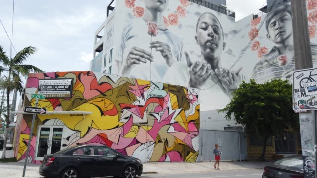 general footage of the wynwood neighborhood on july 09, 2020 in miami, florida. today, is the first day that restaurants have been asked by... - florida us state stock videos & royalty-free footage