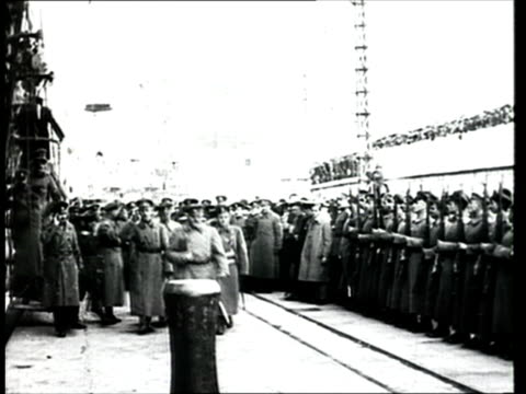 1918 b/w ws pan general from white army saluting guard of honour at the port of yalta following arrival of troops on the saratov ship during the russian civil war/ yalta, crimea, ukraine - 1918 stock videos & royalty-free footage