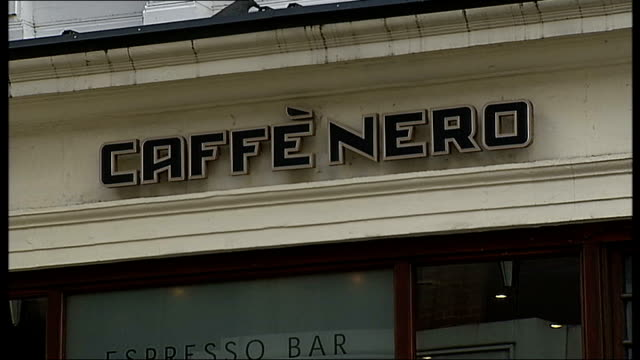 General internal and external views of Starbucks / exteriors of Caffe Nero and Pret General view of exterior of Caffe Nero coffee shop Sign above...