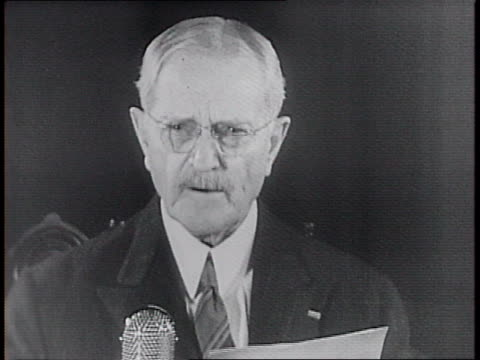 general john j pershing reads statement from desk in front of microphone on sending aid to england by allowing them to use the aging destroyer... - john pershing stock videos & royalty-free footage