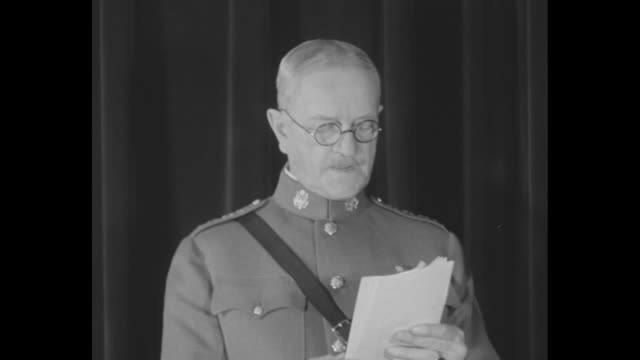 mcu general john pershing us army stands before black curtain and reads statement he wears military uniform and eyeglasses / note exact year not... - john pershing stock videos & royalty-free footage
