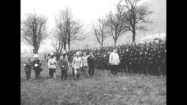 ms general joseph joffre along with staff inspects french chasseurs alpins standing at attention in field after a battle lasting more than three days... - esercito militare francese video stock e b–roll