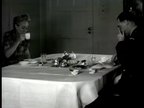 general lucius clay home general lucius clay having breakfast w/ wife in dining room general lucius clay lighting cigarette general lucius clay... - lucius d. clay stock videos and b-roll footage