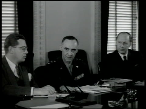 s general lucius d clay at conference table sot saying us spending 200 million a year supporting german economy britain twice that unification put in... - lucius d. clay stock videos and b-roll footage