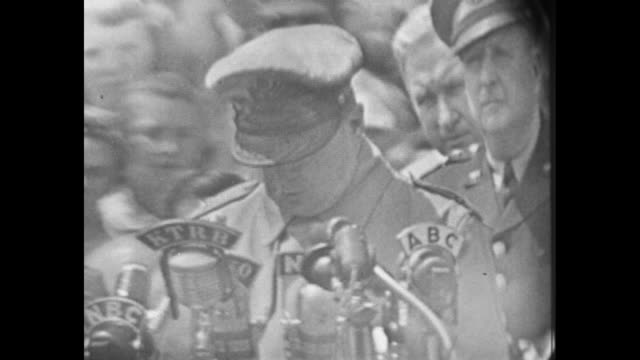 general macarthur discusses that he does not intende to enter politics now that he's home from the korean war he has no political aspirations... - office politics stock videos & royalty-free footage