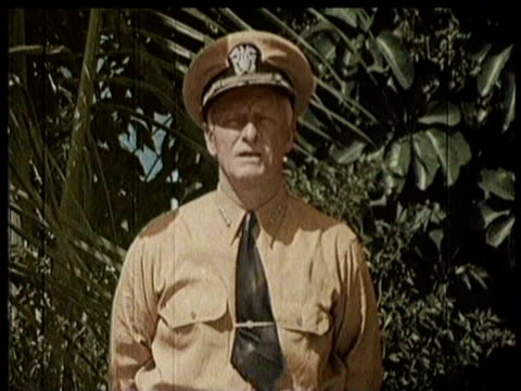 general macarthur returns to philippine soil / admiral nimitz gives speech / narrated - general macarthur stock videos & royalty-free footage