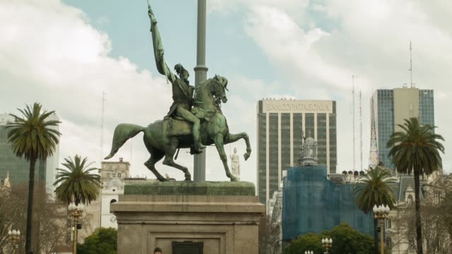 MS General Manuel Belgrano monument at Plaza de Mayo in front of Casa Rosada shot on the 29th of July 2014