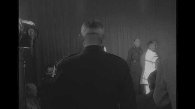 us general mathew ridgway commander of un forces in korea followed by gen omar bradley chairman of joint chiefs of staff enters room filled with... - joint chiefs of staff stock videos and b-roll footage