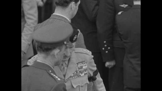 general matthew ridgway incoming supreme allied commander europe chats on orly airfield tarmac with british field marshal bernard montgomery deputy... - field marshal stock videos and b-roll footage