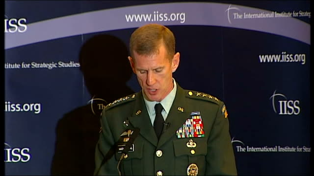 general mcchrystal dismissed from post by president obama; tx 2.10.2009 england: london: international institute for strategic studies: int us... - international security assistance force stock videos & royalty-free footage