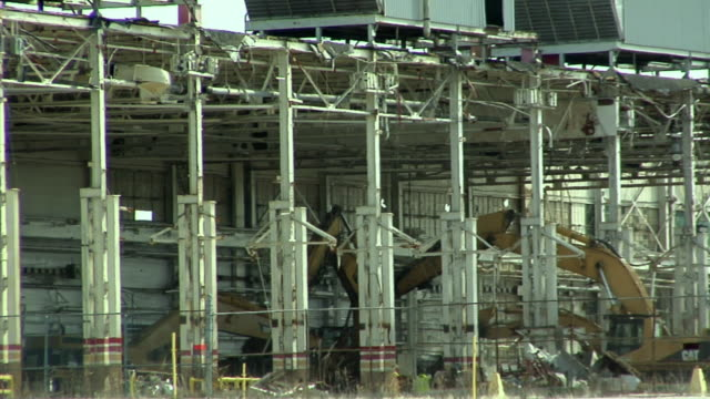 ms pan general motors plant under demolition in lansing, michigan, usa - lansing stock videos and b-roll footage