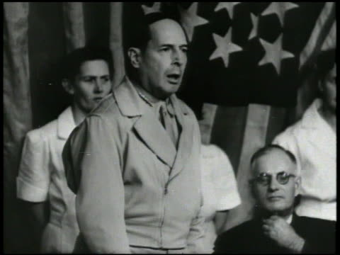 S General of the Army Douglas MacArthur at dinner table during conference Prime Minister of Australia John Curtin sitting BG MacArthur speaking about...