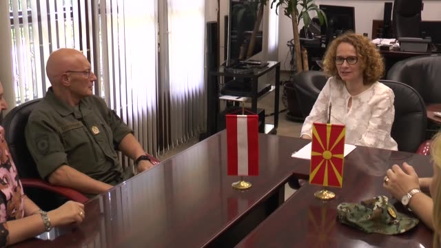 general othmar commenda chief of defence staff of austrian armed forces meets with macedonian defense minister radmila sekerinska in skopje macedonia... - traditionally austrian stock videos and b-roll footage