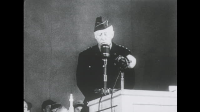 general patton gives a speech at the wars end part 2 of 2 - formato hd video stock e b–roll