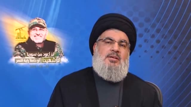general secretary of hezbollah hasan nasrallah delivers a speech at the 40th death day memorial of mustafa bedreddin in beirut lebanon on june 24 2016 - hezbollah stock videos & royalty-free footage