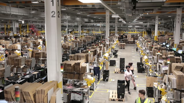 general shots from an amazon robotics fulfilment centre in tilbury essex uk on friday july 12 2019 - warehouse stock videos & royalty-free footage