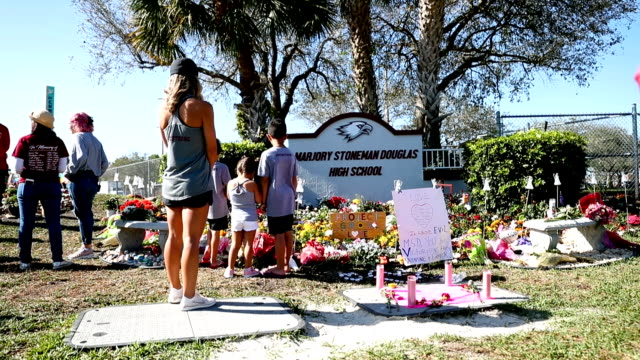 general shots of a memorial setup outside marjory stoneman douglas high school as people remember those lost during a mass shooting at the school on... - trauernder stock-videos und b-roll-filmmaterial