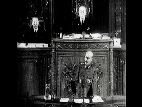 general tojo speaks to the japanese parliament about the management system in java - parliament building stock videos & royalty-free footage
