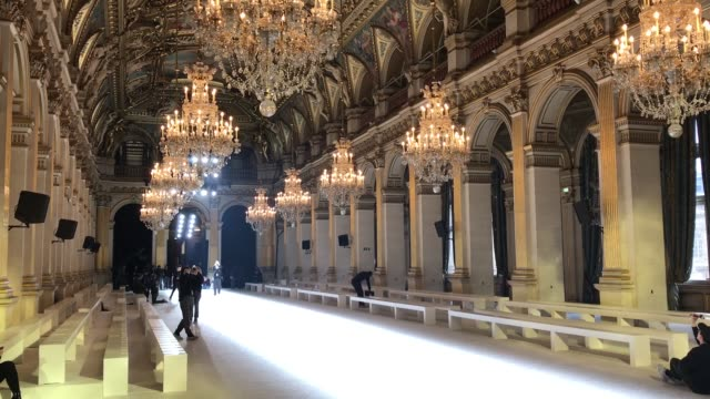 general view from inside hotel de ville before the paris fashion week a/w 2018 balmain on march 2 2018 in paris france - hotel de ville paris stock videos & royalty-free footage
