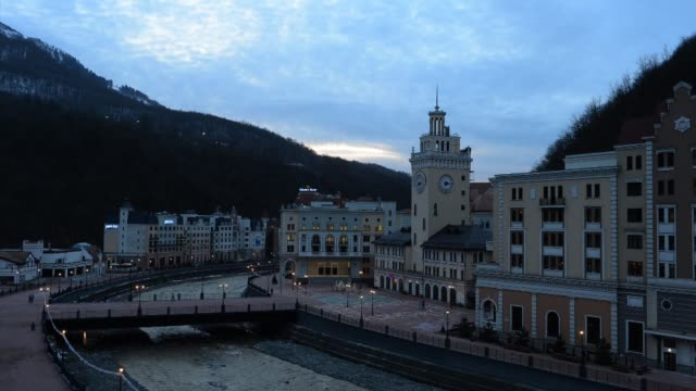 general view from sochi during the world junior curling championships at sochi, russia. world junior curling championships at ice cube curling center... - russia点の映像素材/bロール